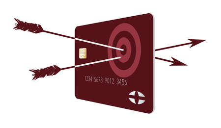 Two arrows penetrate an archery target on a generic crecit or debit card. Illustrates being on target and having the correct card for you. 3-D illustration.