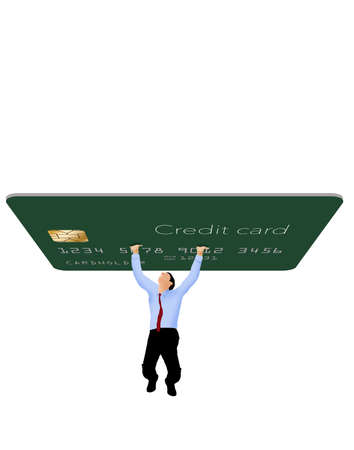 A man struggles to hold up a giant credit card that represent credit card debt. Image isolated on a white background with text area or copy space.