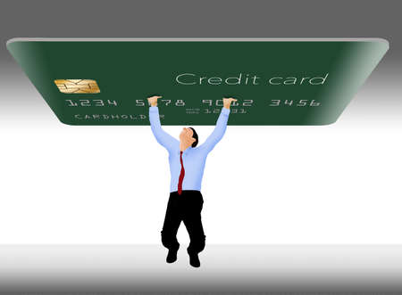 A man struggles to hold up a giant credit card that represent credit card debt.