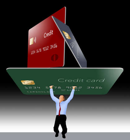 A man struggles to hold up 3 giant credit cards that represent credit card debt.