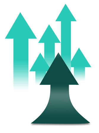 Cyan, aqua and green arrows point upward in this 3-d image of flat arrows with one upcurving arrow.
