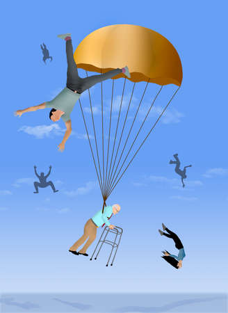 A business executive decends from his long career with a golden parachute of retirement benefits. Employees fired without any protection fall without parachutes. Фото со стока