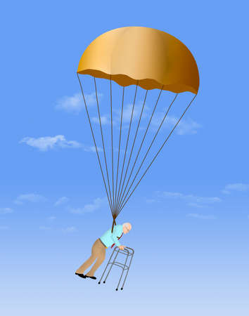 A business executive decends from his long career with a golden parachute of retirement benefits.