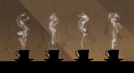 Four cups of hot coffee are seen giving off clouds of steam and sitting on saucers. In the background as wallpaper is a wall covered with coffee rings and stains. Фото со стока