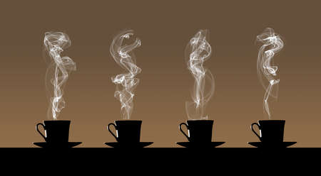 Four cups of hot coffee are seen giving off clouds of steam and sitting on saucers.