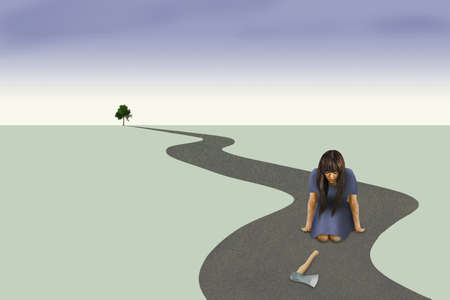 A woman looks at an axe on a road that is winding to the horizon with only one tree standing in the distance. This illustrates impulse control and making good choices.