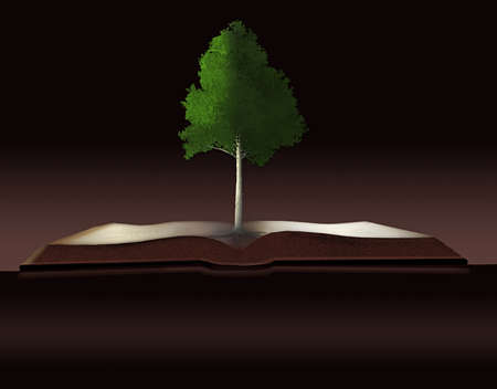 Dendrology, the study of trees is illustrated with a tree growing out of a book. Also illustrates the tree of knowledge and sustainability of wood.