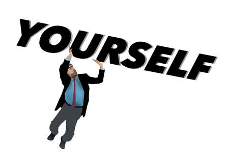 """Lift yourself up is the theme of this image a man lifting the word """"yourself""""."""