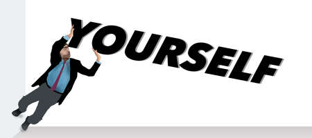 """Push yourself is the theme. A man pushes on the word """"yourself"""" spelled out in type."""