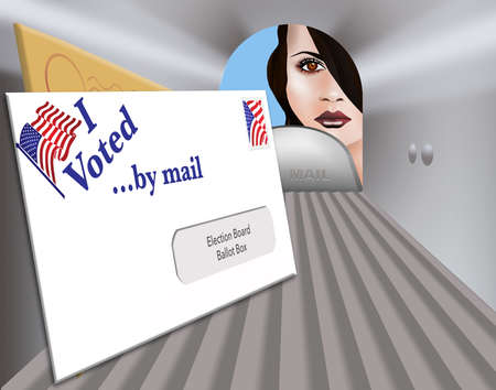 """A election ballot envelope in a mailbox is ready to be mailed and includes the words: """"I Voted by mail""""."""