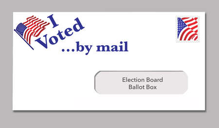 """A election ballot envelope ready to be mailed includes the words: """"I Voted by mail""""."""
