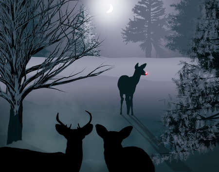 Wild deer are seen at night in the moonlight on snow in a nature winter scene. One deer has a red nose to make this a Christmas themed image. Фото со стока