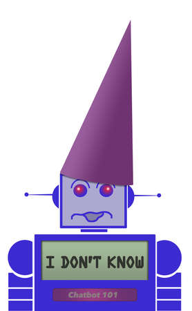 A chatbot robot wears a dunce cap because the automated phone chatter doesnt know the answer to a question. Фото со стока