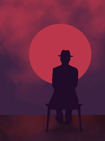 An old man in a fedora hat sits on a bench watching a red and purple sunset. The theme is retirement years and aging.