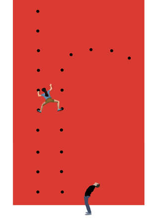 A woman ascends a climbing wall to find the hand holds will change and elude her on the path ahead.
