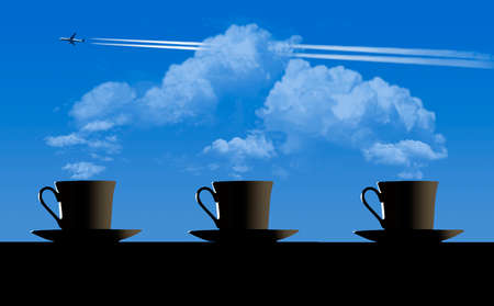 Four cups of coffee on the wooden table over blue sky and clouds with a jet airliner flying by.