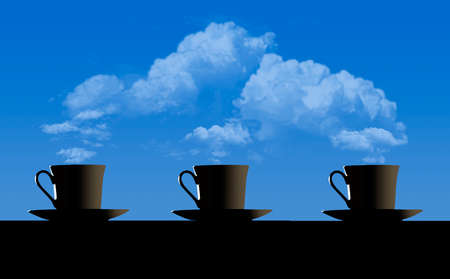 Four cups of coffee on the wooden table over blue sky and clouds