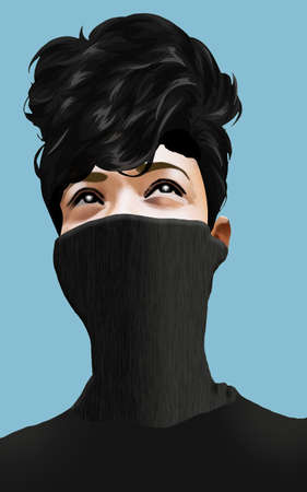 A girl wears a COVID-19 neck mask gaiter pulling it up over half of her face in this illustraton