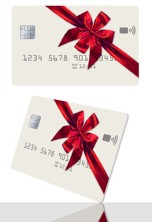 Here is a credit card or gift card decorated with a red bow and ribbon for Christmas.