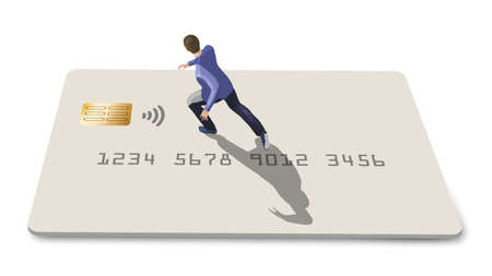 A young man runs over the top of a credit card or debit card as he jogs in this 3-D illustration. Stok Fotoğraf