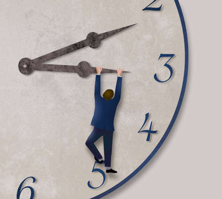 A man in a business suit hangs from the hour hand of a clock pulling it toward five o'clock in this 3-d illustration.