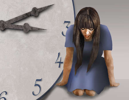 A young woman kneels beside an old clock face as she awaits time to pass in this 3-d illustration.