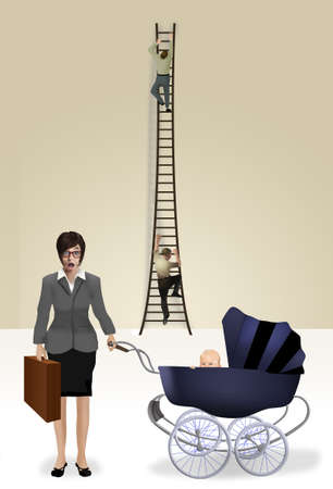 Men climb the corporate ladder while a business woman with a briefcase stands below with her baby in a stroller, unable to climb the ladder with the men.