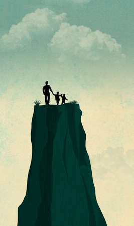 A single widower father is seen with his two children on the top of a mesa feeling lost and alone. Illustration about single fathers.