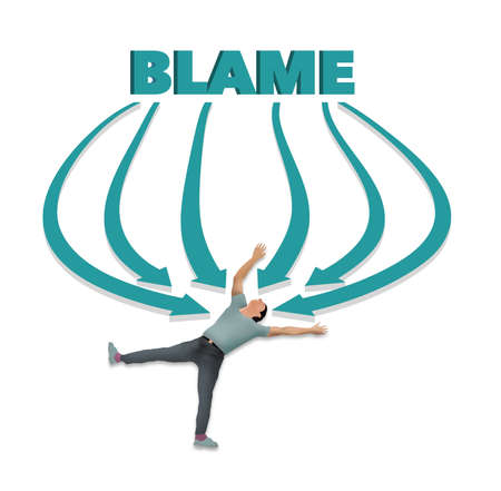 A man lies on his back as all arrows point his direction. The word blame is at the top of the arrows in this 3-D illustration.