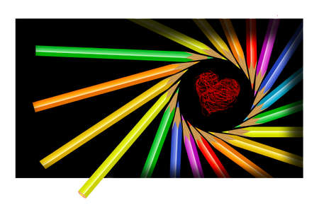 Colored pencils are arranged in a spiral formation to frame a heart.