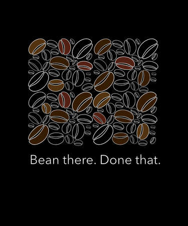 Been there. Done that. Coffee is for every day so we've all been there before. Here is a coffee bean themed illustration that is colorful and of a modern design. This is an illustration. Stok Fotoğraf