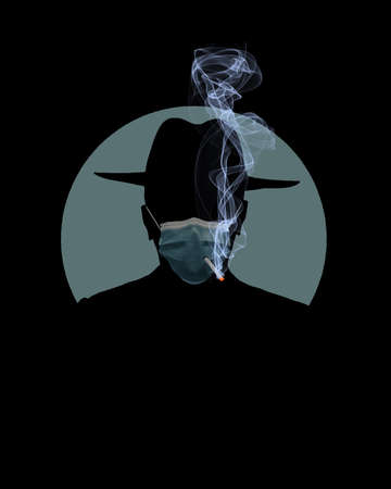 A man smokes a cigarette through a hole in his surgical mask that he is wearing for protection from Covid-19. Фото со стока