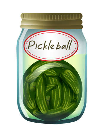 Pickle ball is a growing sport with a funny name. Here is a funny illustration of a ball of pickles in a home canning jar. Stok Fotoğraf