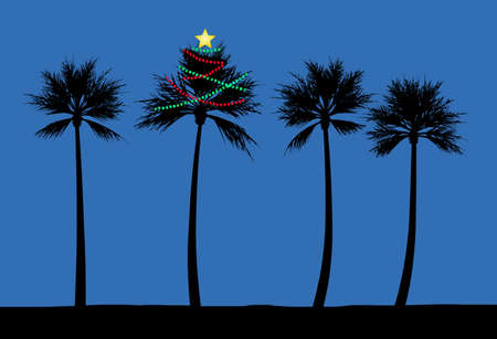 A palm tree is decorated for Christmas on a beach in a tropical climate. Strings of lights glow in the night. Stock fotó