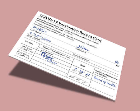 A Covid-19 Vaccination Record Card that is generic and filled out with John Q Public's name is held by a hand in this 3-D illustration.