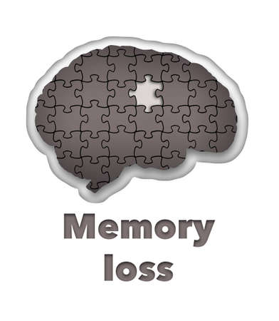 A jigsaw puzzle with a piece missing appears inside a silhouette of a brain in this 3-D illustration about memory loss or other mental illness.