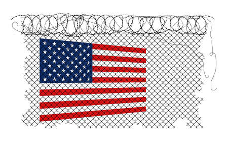 A USA flag is seen behind razor wire and chain link fence. Refers to the fence constructed around the US Capitol in Washington, DC.
