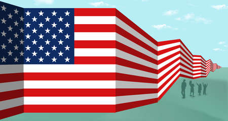 A USA flag is seen as a border wall between the USA and Mexico in this 3-D illustration.