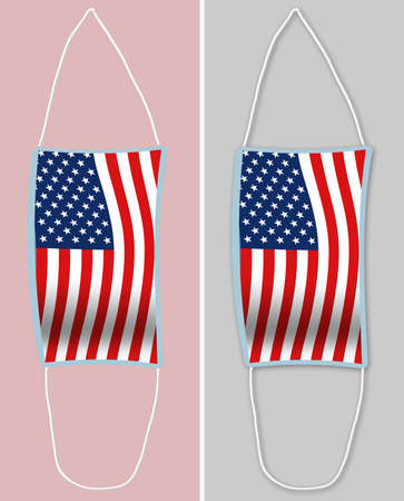 A USA flag decorates a surgical mask hanging on a wall. Image is isoltated on the background and also as a shadowed image. The masks are used for protection from  virus.