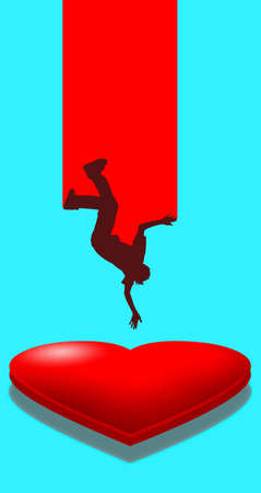 A person is seen falling upside down and his headed for a soft landing on a pillowy heart in this 3-D illustration about falling in love.