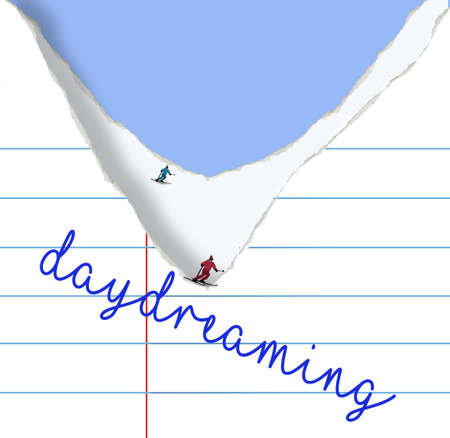 Snow skiiers are seen gliding down the slope created by torn school notebook paper in this 3-d illustration about students daydreaming. Stok Fotoğraf