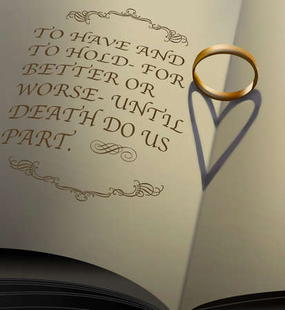 A gold wedding band sitting on the pages of a book cast a shadow that looks like a heart. Wedding vows are printed in the book in this illustration about future, love and marriage. Stok Fotoğraf