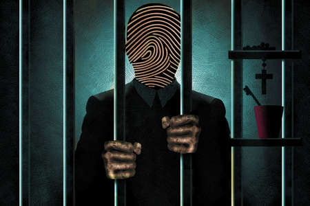 A criminal with a fingerprint for a face,  is seen in silhouette behind bars with his filthy hands gripping the bars. 3-D illustration Stok Fotoğraf