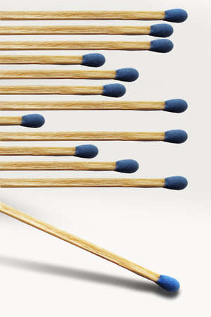 Wooden matches are lined up. This is a 3-D illustration. Stok Fotoğraf