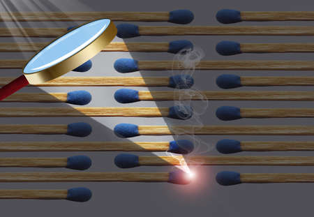 Wooden matches are lined up and a match is about to start all the matches on fire. This is a 3-D illustration. Stok Fotoğraf