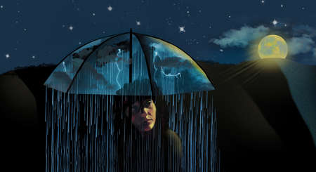A woman is seen in moonlight on a clear night. She has an umbrella and storms with lightning and rain are under the umbrella with her. She carries her own bad weather with her bad state of mind. 3-D illustration Stok Fotoğraf