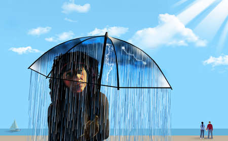 A girl on a sunny ocean beach is seen under her umbrella that contains a small dark and rainy atmosphere for her alone. 3-D illustration about state of mind.