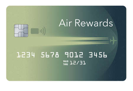 Here is a generic modern air rewards credit card. This is a 3-D illustration. Stok Fotoğraf