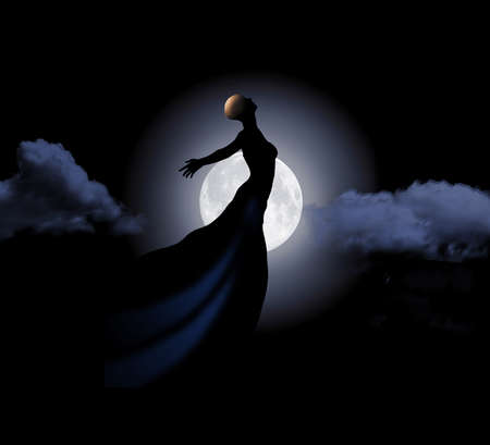 A hopeful female cancer patient  is seen in sillhouette where only her bald head is in the light. She displays dignity and spirit with her elegant pose in a flowing evening gown. Stok Fotoğraf