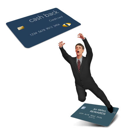 A man is seen making the leap to switch from an air miles reward credit card to a cash back rewards card. Stok Fotoğraf